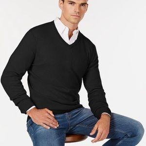 Cashmere Club Room Black V Neck Sweater